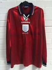 Umbro Inglaterra años 90 de estilo vintage y retro manga larga camiseta de fútbol Tamaño grande obra benéfica