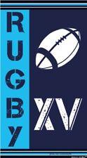 Serviette de plage jacquard Rugby bleu 90X170 cm  JQ164