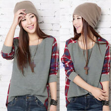 Women T-shirt Loose Checked Long Sleeve Round Neck Plaid Casual Blouse Tops Q