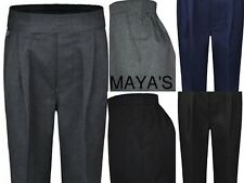 Junction 10 Boys School Trousers Pull Up Elasticated Waist Black Grey Uniform Trousers
