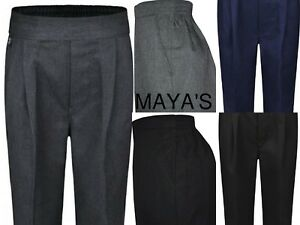 BOYS SCHOOL PULL UP TROUSERS UNIFORM ELASTICATED BACK~NO ZIP & CLIP ~2-12YEARS