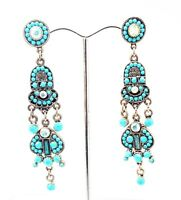 CC 3 in BLUE FAUX TURQUOISE A/B CLEAR CRYSTAL SILVER DROP DANGLE EARRINGS NEW