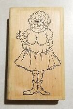 Wrinkly Old Woman in Dress Rubber Stamp The Stamp Store Jane Miller