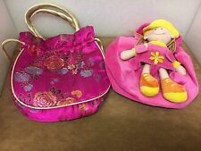 Two Colourful Girls Bags, one has a detachable toy rag doll