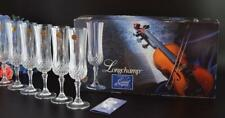 BOXED Set 6 Vintage CRISTAL D'ARQUES Longchamp CRYSTAL Champagne FLUTES Glasses