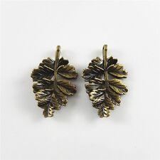 6X Vintage Style Bronze Tone 28*19mm Leaf Pendant Charms 02377
