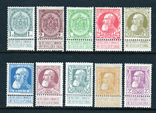 1905-1911 Belgium Sc 82-91 | Cob 71-80 - King Leopold w/ Labels, Mnh Mh*