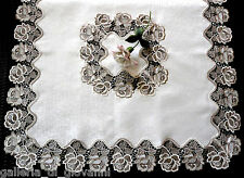 """ROSES JUBILEE  43"""" SQ  Lace Table Topper Doily Tablecloth"""