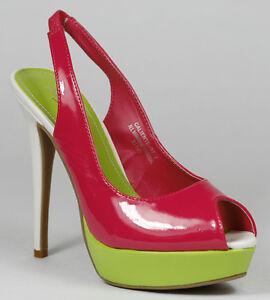 Fuchsia Pink Lime White Patent Open Toe Slingback Platform Heel Anne Michelle