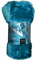 LUXURY SOFT MINK FAUX FUR THROW SOFA BED BLANKET TEAL SINGLE DOUBLE KING