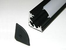 P3 Perfil De Aluminio Para Tiras De Led; anodizado negro, opal cubierta, Capuchones,1 M