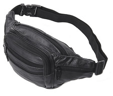 NEW Black Leather Fanny Pack Waist Belt Bag Mens Womens Hip Travel CarryOn Pouch