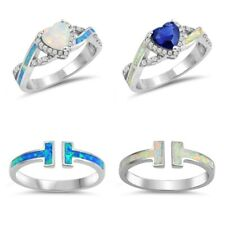 NEW Sterling Silver T-BAR WHITE & BLUE OPAL W/ CZ ENGAGEMENT RINGS SIZE 4-10