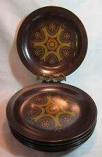 Stonecrest USA Andre Ponche Design Six (6) Brown Stoneware Dinner Plates