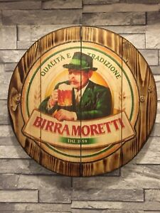 Birra Moretti  round plaque wooden sign man cave shed bar pub 14 inch internal