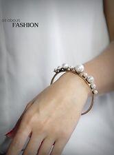 Bracelet Doré Ouvert Art Deco Perle Blanc Class Vintage Original CT4