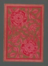 SWAP PLAYING CARDS 1 ANTIQUE SQ CORNER  PINK / RED  ROSES GOLD  SQ 45  C1800'S