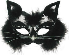 Transparent Black Cat Face Mask Masquerade Ball Fancy Dress