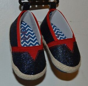 Slip on Nautical Theme Blue Sequence Princess Slippers Shoes Glam Baby Booties
