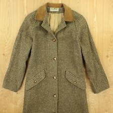 vtg LL BEAN tweed wool blend over coat jacket SMALL women's leather trim walking