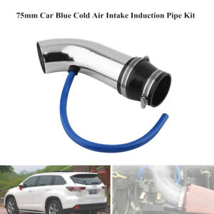 75mm Car Auto Blue Cold Air Intake Induction Pipe Kit Filter Tube System Parts