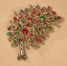 Openwork Silvertone Bouquet Brooch Pin Gorgeous Red Green Amber Colorful Curved