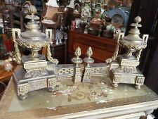 Antique Pair French Louis Xvi Gold Gilt Ormolu Andirons Chenets