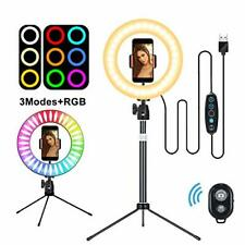 "Selfie Ring Light 10"" with Tripod Stand & Flexible Phone Holder and Remote, Desk"
