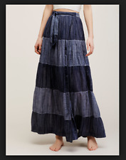 NEW Free People Wild Winds Maxi Skirt Denim Blue Plaid & Stripes Lined $128 0