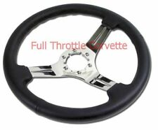 1968 - 1982 Corvette Steering Wheel, Black Leather with Chrome Spokes