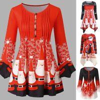 Christmas Women Print Round Neck Tunic Tops Oversized Irregular T Shirt Blouse U