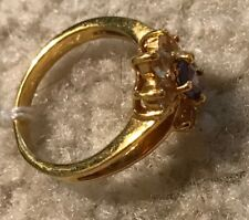 Cubic Zirconia Ring Size Sz 7 Rings Cluster Rings of Stones Saphire Blue Gold