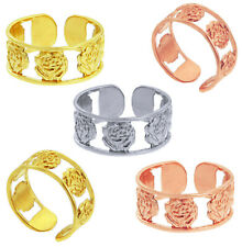 Solid 10k / 14k Yellow White Rose Gold Texture Love Roses Adjustable Toe Ring