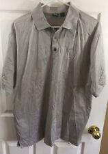 Hugo Boss Golf Made In Italy Collared Shirt Gray Short Sleeve Medium 100% Cotton