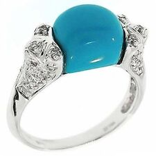 Vintage Style Turquoise & Diamond & Right Hand 14k Gold Ring