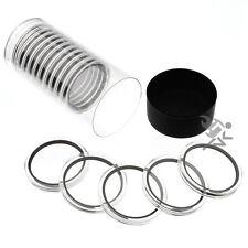 "1.75"" Challenge Coin Holder, Black Capsule Tube & 15 Air-Tite X44mm Black Rings"