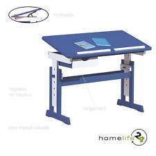 Bureau enfant adolescent inclinable table dessin bois blanc bleu mutli-foncti...