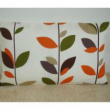 "20""x12"" Oblong Bolster Cushion Cover Stem Leaves Orange Brown Beige Green Leaf"