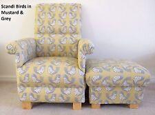 Scandi Birds Fabric Adult Chair & Footstool Armchair Nursery Mustard Grey Accent