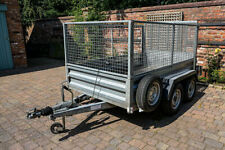 Indespension Braked Twin Axle 8' x 5' Cage-Sided Car Trailer
