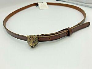 GUCCI BELT CUOIO TOSCANO BROWN Cat Head Buckle Brass Skinny Belt Size 110 B