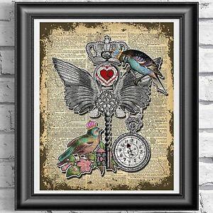 Original ART Print DICTIONARY ANTIQUE BOOK PAGE Birds Love Key Heart picture