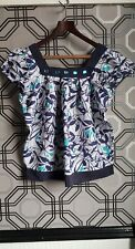 Urban Behaviour Blue & White Floral Jewelled Smock Top Size 12