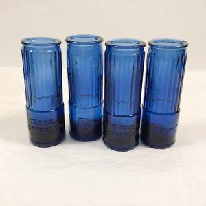 "4 Corralejo Tequila Shotgun Shell Shot Glasses Cobalt Blue 3 3/4"" Tall"