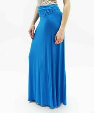 Maxi Skirt Size 8 Blue Ladies Womens Long With Fold Over Wide Waist