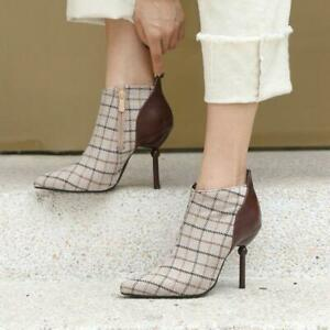 32-48 Ladies Check Pointy Toe Plaid Chelsea Ankle Boot High Slim Heel Court Shoe