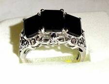 BIG GENUINE BLACK ONYX EMERALD CUTS STERLING SILVER FILIGREE RING!  9