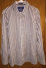 EUC American Eagle AE Mens XXL Vintage Fit Brown Striped Button Front L/S Shirt