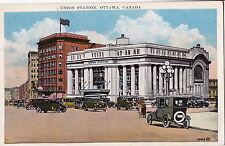 OTTAWA CANADA UNION STATION VINTAGE VIEW TRAIN RR Postcard
