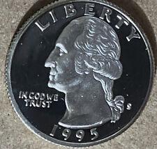 1995 S Silver Proof Washington Quarter 25c Cameo Proof 90% Silver Proof Quarter